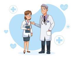 médecins professionnels couple personnages vecteur