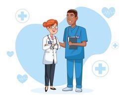 couple de personnages de médecins professionnels vecteur