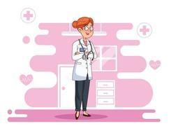 caractère professionnel de femme médecin vecteur