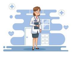 personnage de médecin professionnel féminin vecteur