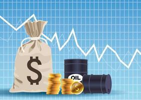Marché des prix du pétrole avec des barils et des pièces de monnaie sac d'argent vecteur