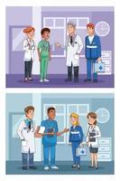 définir des scènes de personnel de médecins professionnels vecteur