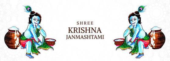 heureux krishna janmashtami seigneur krishna agenouillé carte bannière