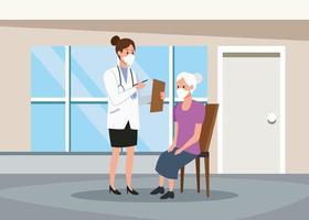 Femme médecin protégeant les personnages de personnes âgées avec des masques de protection