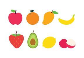 Icônes gratuites de fruits plats vecteur