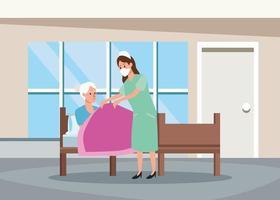 infirmière, protection, personne âgée, dans lit, caractères vecteur
