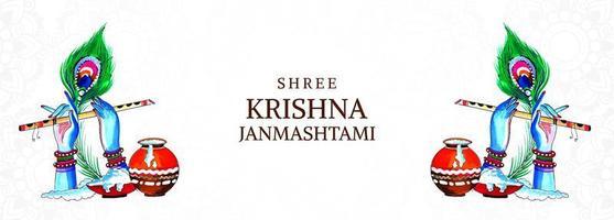 festival heureux krishna janmashtami mains et bannière de flûte