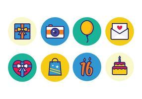 Icônes d'anniversaire gratuites vecteur
