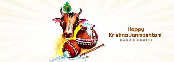 bannière krishna janmashtami avec dahi handi et vache