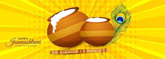 joyeux janmashtami avec fond de bannière de carte de voeux pots vecteur