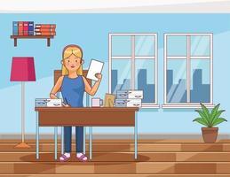 travail à la maison personnage de jeune femme