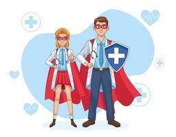 couple de super médecins avec manteau et bouclier de héros vecteur