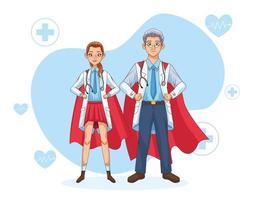 couple de super médecins avec manteau de héros vecteur