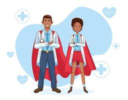 couple super médecin en manteau