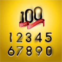 Numéros d'anniversaire de 100 ans en or avec ruban rouge
