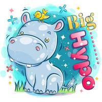 Hippopotame mignon jouant avec un oiseau jaune