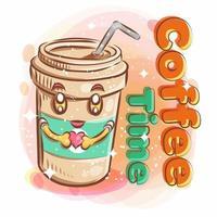 jolie tasse de café souriant tient une forme de coeur vecteur