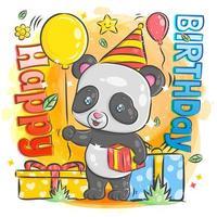 mignon panda célébrant son anniversaire vecteur