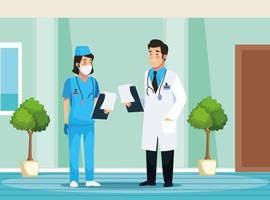 personnages infirmière et médecin