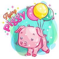 mignon cochon volant avec des ballons
