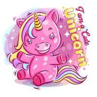 Licorne colorée mignonne jouant avec illustration de dessin animé de sourire heureux