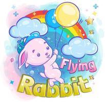 mignon petit lapin volant avec ballon vecteur