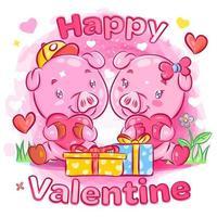 couple de cochons se sentant amoureux des cadeaux de la saint-valentin