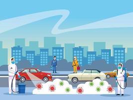 les personnes de nettoyage de risque biologique et les particules de coronavirus vecteur