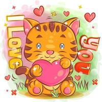 tigre mignon se sentant amoureux et tenant un coeur