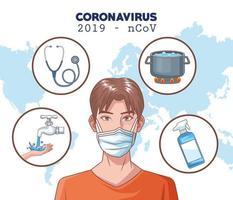 infographie de coronavirus avec un homme utilisant un masque de protection