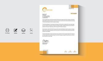 papier à en-tête géométrique moderne orange-noir