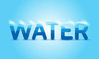 texte d'eau rougeoyante sur bleu vecteur
