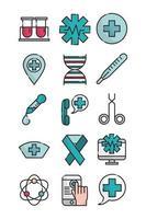 jeu d'icônes de ligne de soins de santé