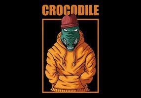 crocodile à la mode dans un design à capuche vecteur