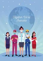 groupe de travailleurs portant des masques faciaux et un message optimiste