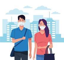 jeune couple utilisant un masque facial pour le coronavirus