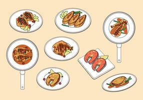 Vecteurs de poisson frits gratuits vecteur
