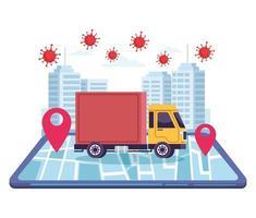 service en ligne de livraison de camions avec des particules covid 19 vecteur