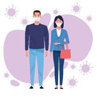 couple utilisant un masque médical pour le coronavirus vecteur