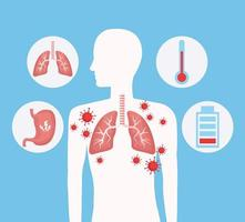 silhouette humaine avec poumons et ensemble d'icônes covid 19