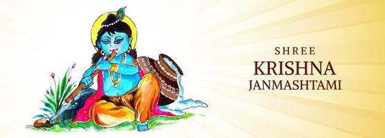 heureux krishna assis et jouant de la flûte bannière du festival janmashtami vecteur