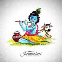 Happy Krishna assis sur le sol jouant de la flûte festival janmashtami vecteur