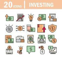 ligne d'investissement et économie et jeu d'icônes de remplissage