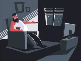rester à la maison en regardant la télé vecteur