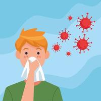 jeune homme grippé à cause de covid19 vecteur