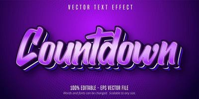 texte du compte à rebours, effet de texte pop art de couleur violette