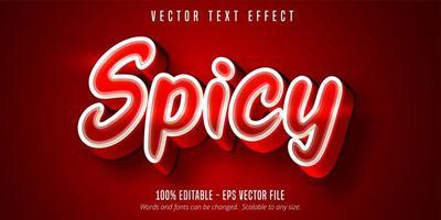 texte épicé, effet de texte de couleur rouge vecteur