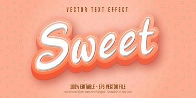 texte rose doux, effet de texte de style dessin animé vecteur