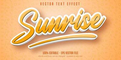 texte du lever du soleil, effet de texte de style dessin animé vecteur