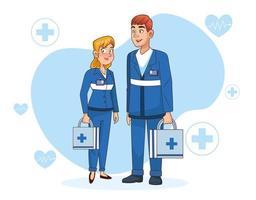 personnages de couple paramédical professionnel vecteur